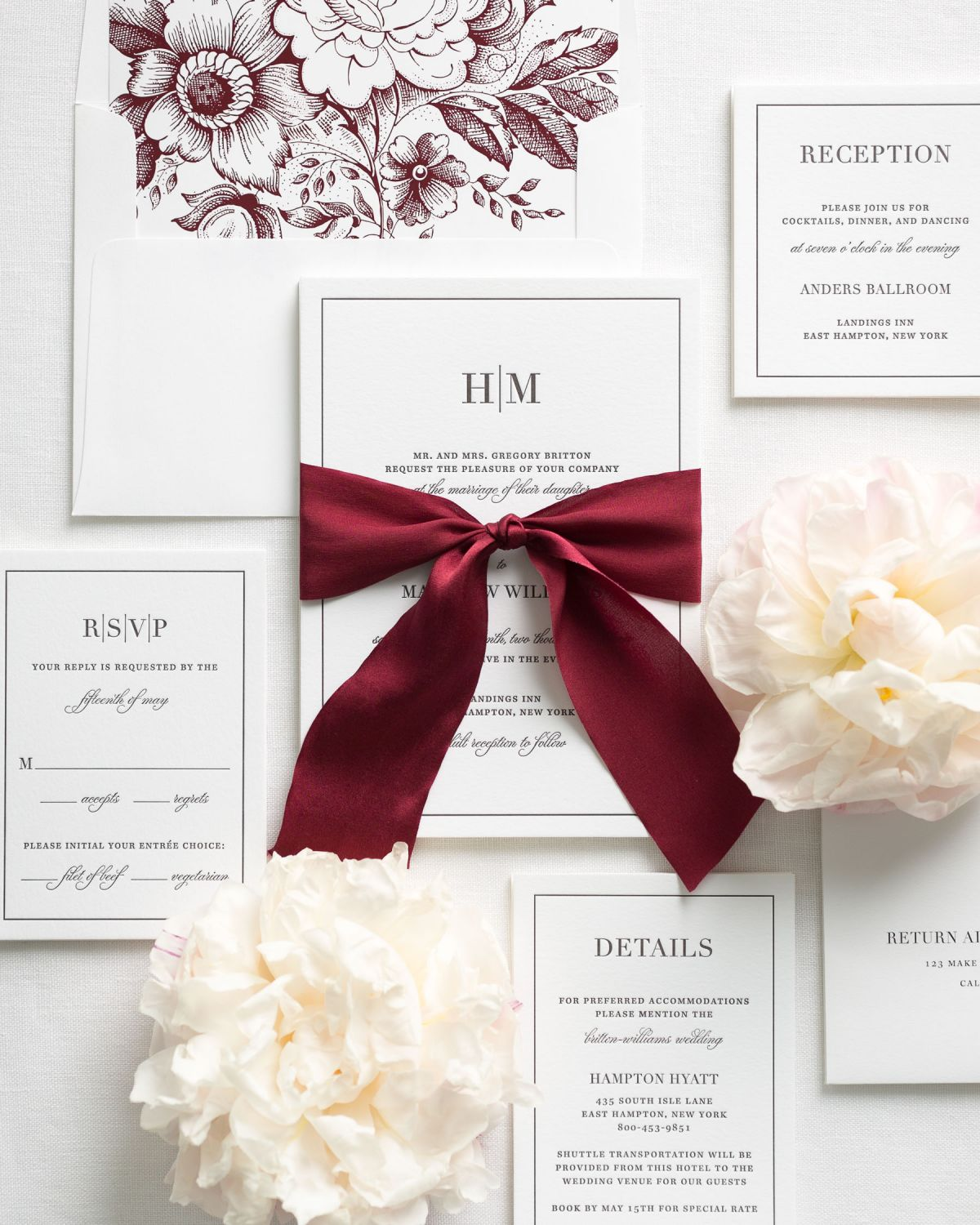 Dark Red Wedding Invitations with Wine Colored Silk Ribbon