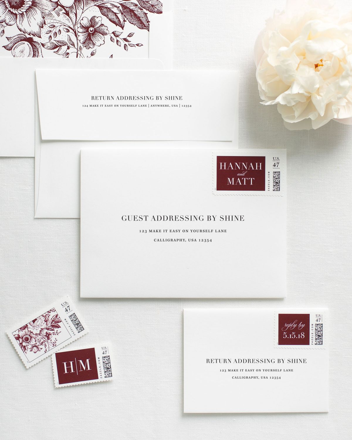 Guest Addressed Envelopes with Custom Stamps