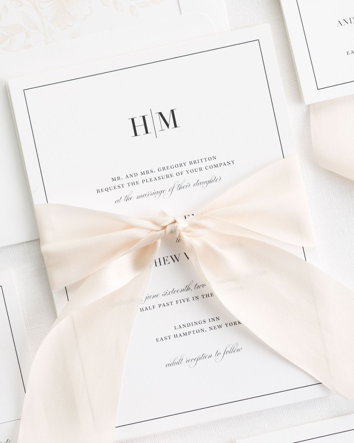 Glam Monogram Ribbon Wedding Invitations Ribbon Wedding