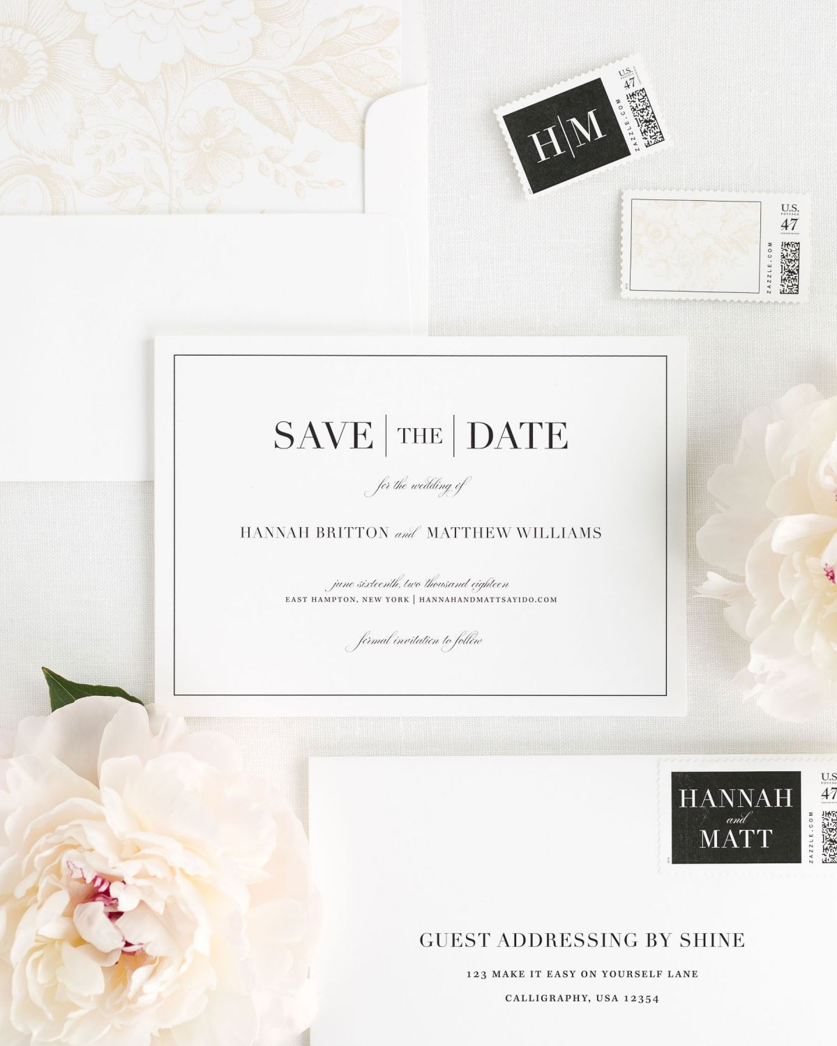 Save the Date with Custom Postage and Floral Envelope Liner
