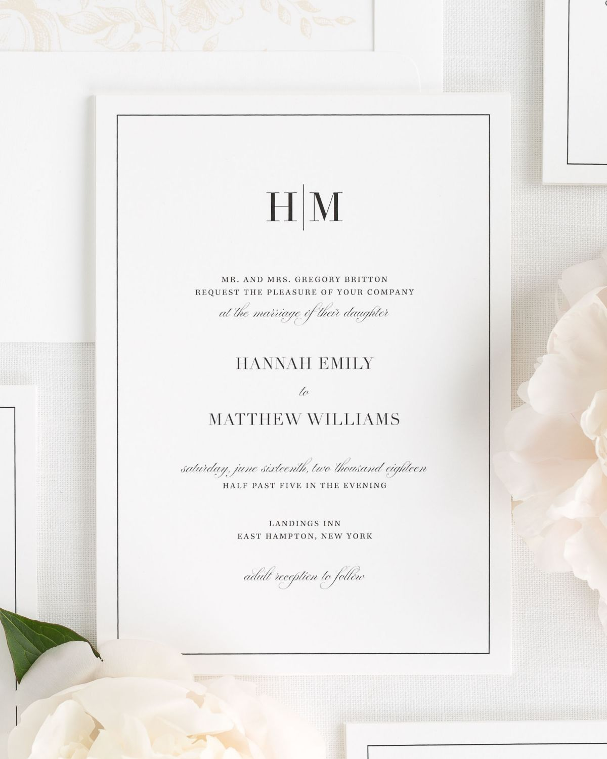 modern wedding invitations with a monogram