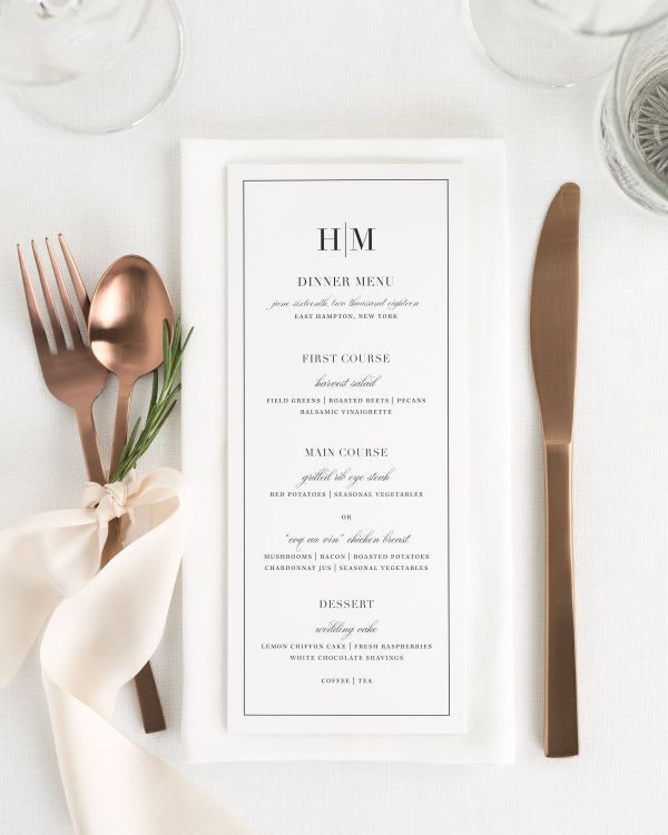 Glam Monogram Wedding Menus