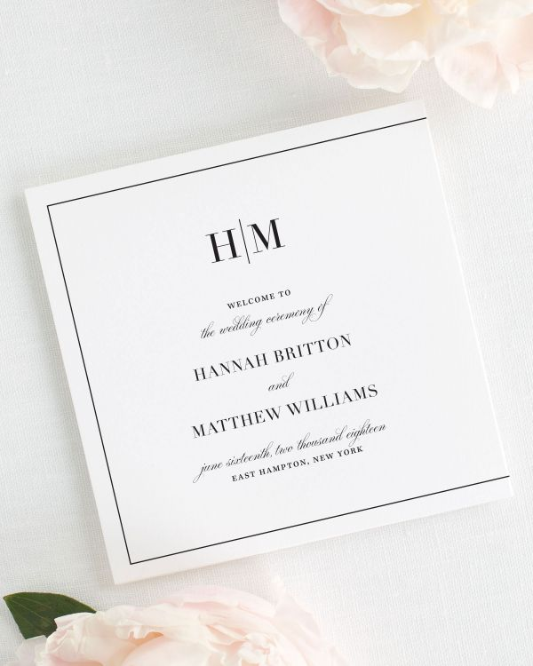 Glam Monogram Wedding Programs