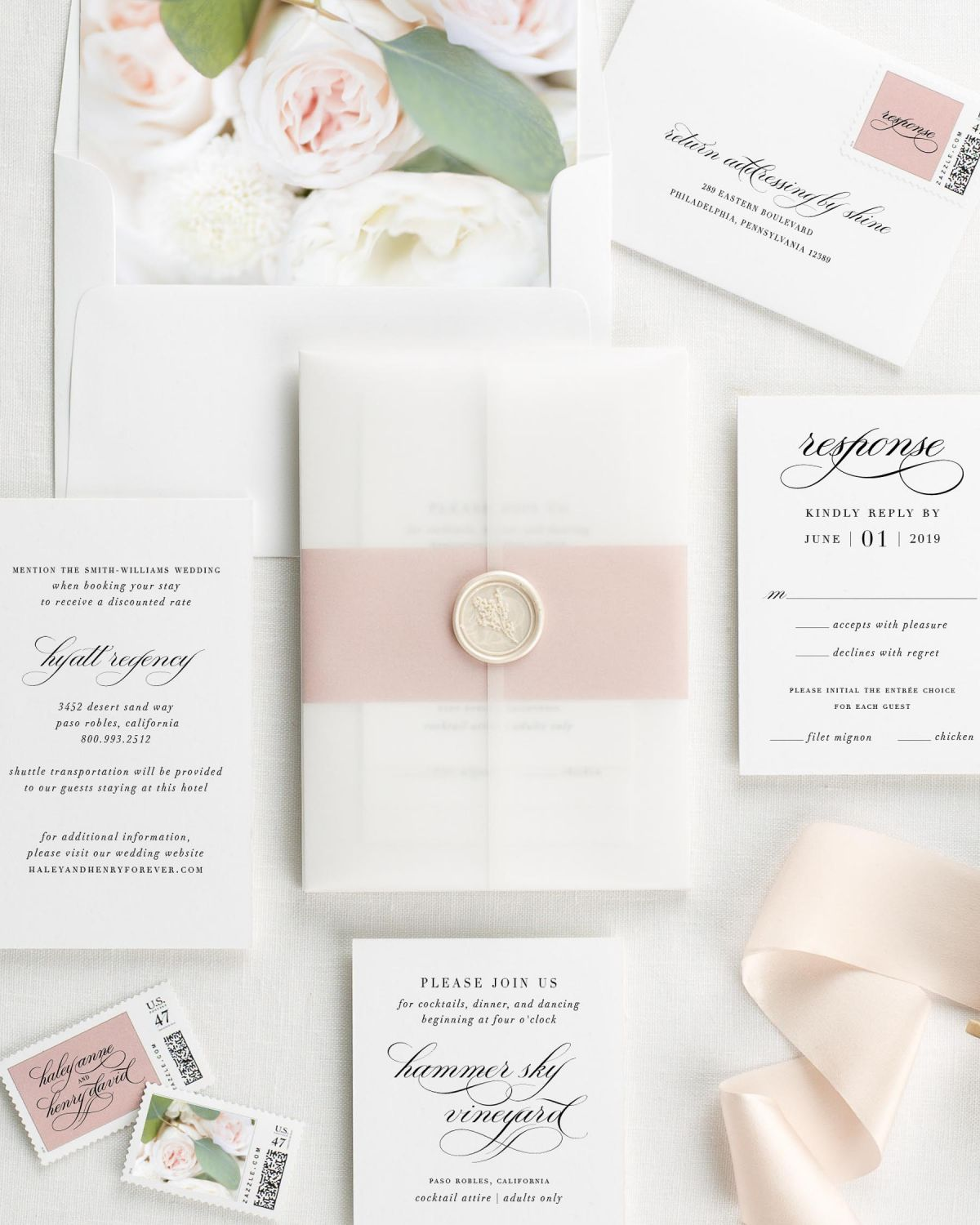 Haley Floral Wedding Invitations - Floral Wedding Invitations by Shine