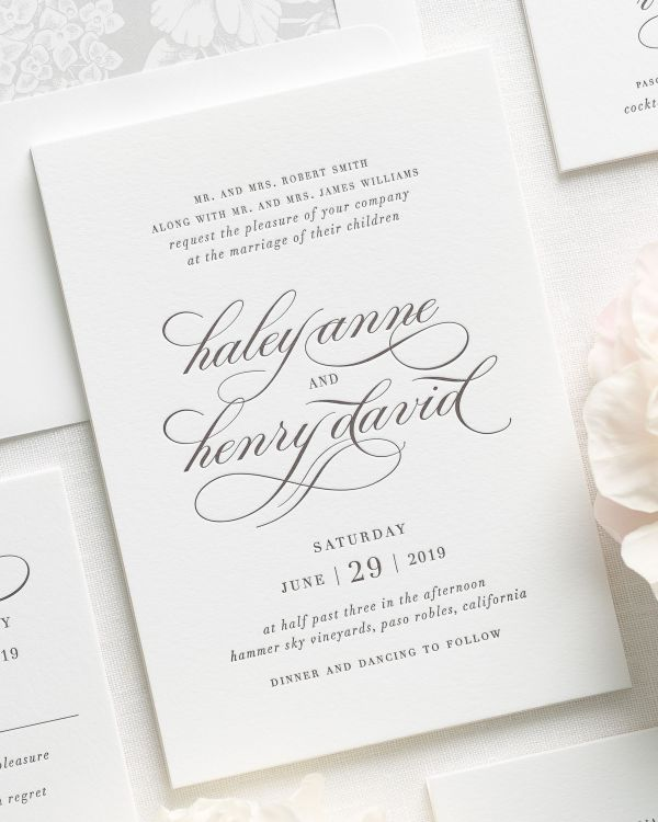 Vintage Glam Letterpress Wedding Invitations