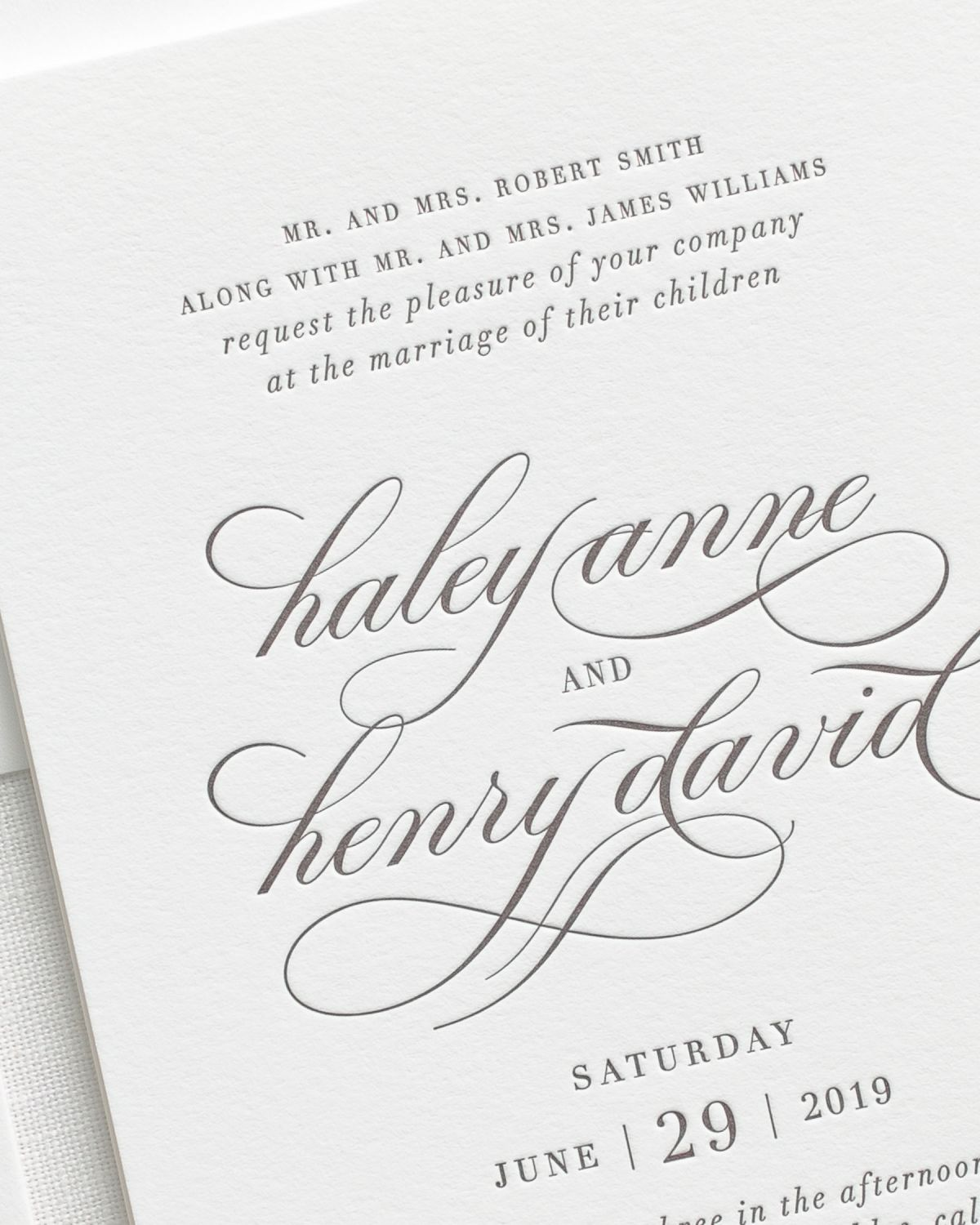Letterpress Wedding Invitations Up Close