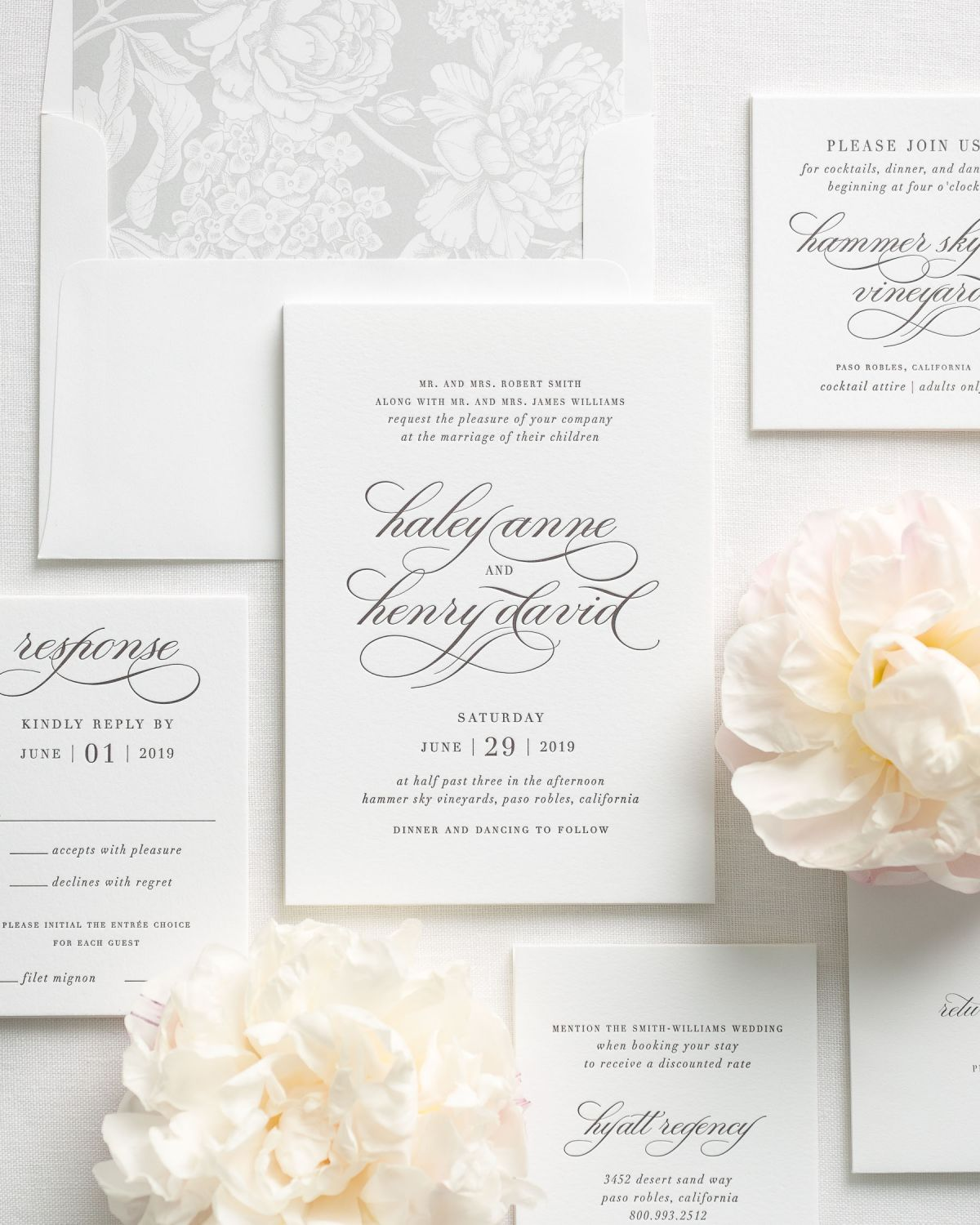 Romantic Letterpress Wedding Invitations with Matching Accessories