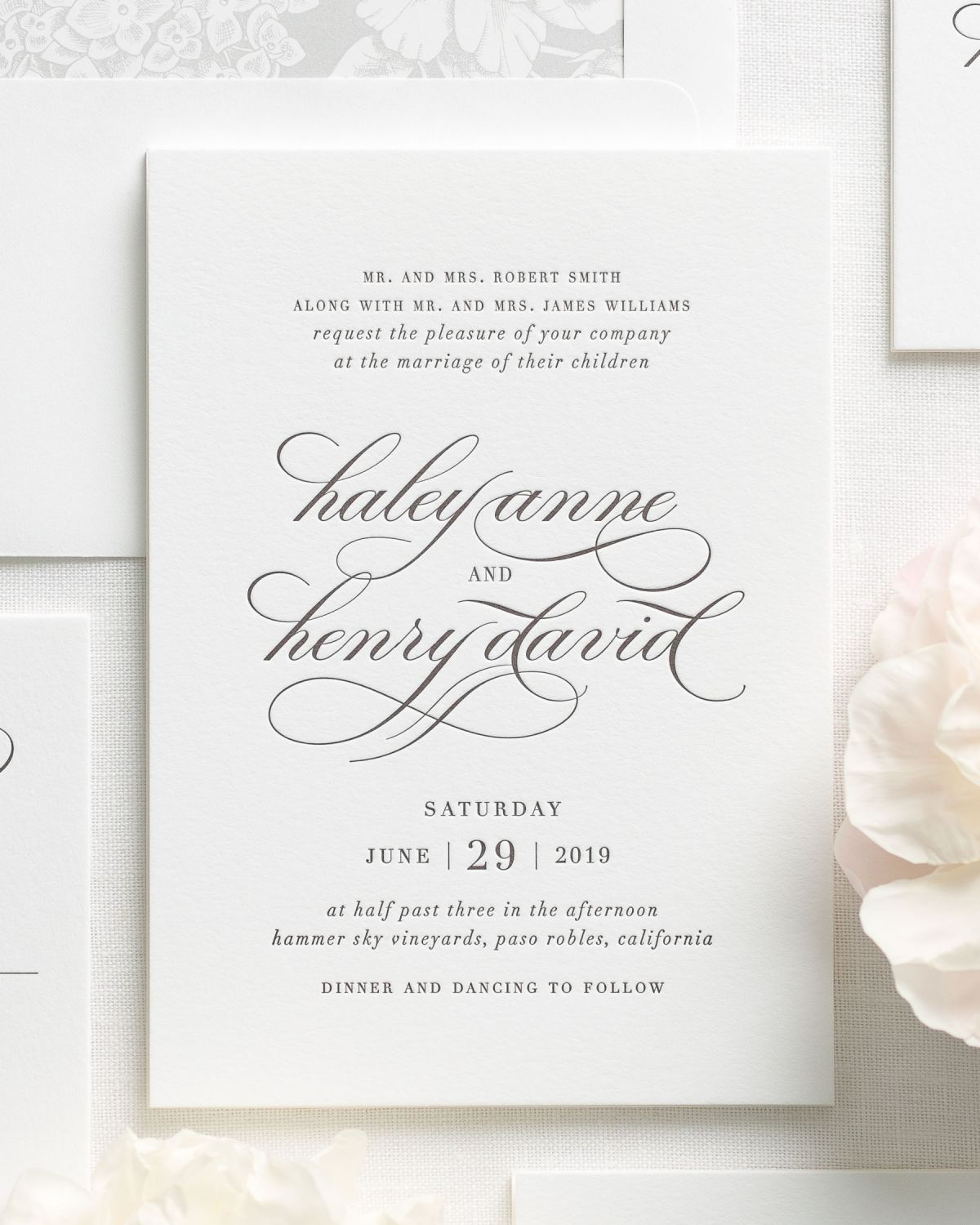 Letterpress Wedding Invitations with Script Names