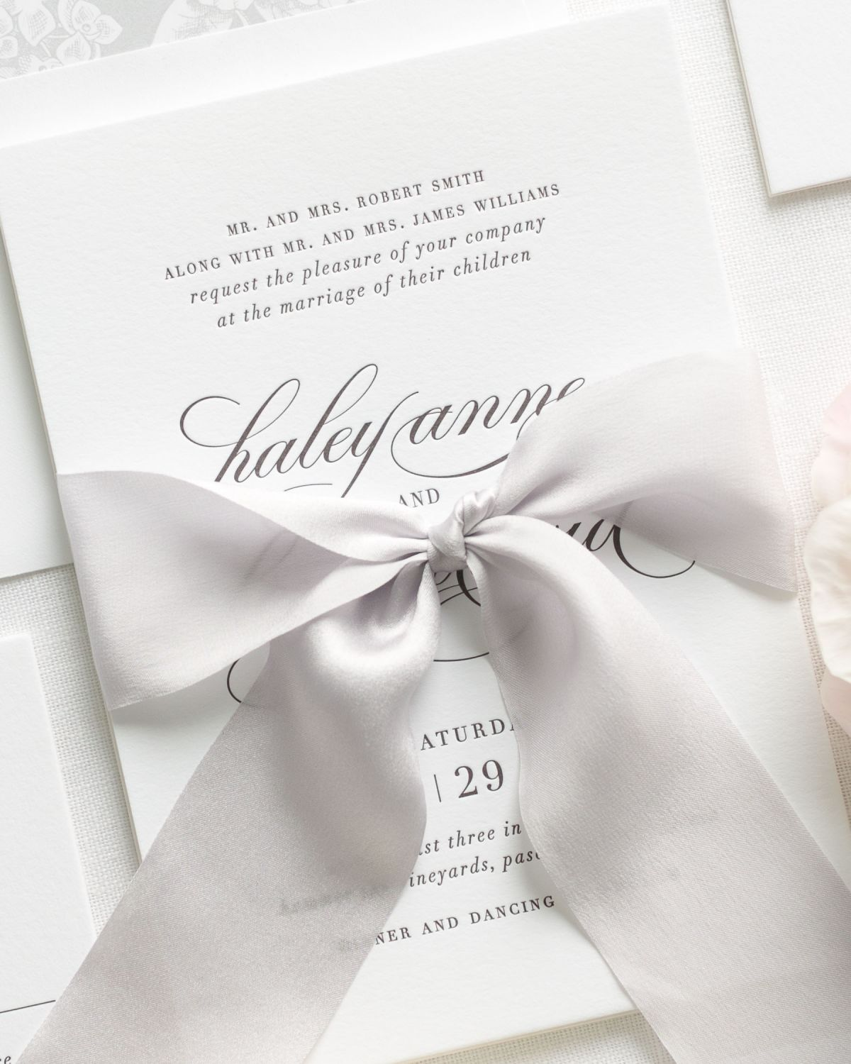 Elegant Silver Letterpress Wedding Invitations with a Pretty Liner ...