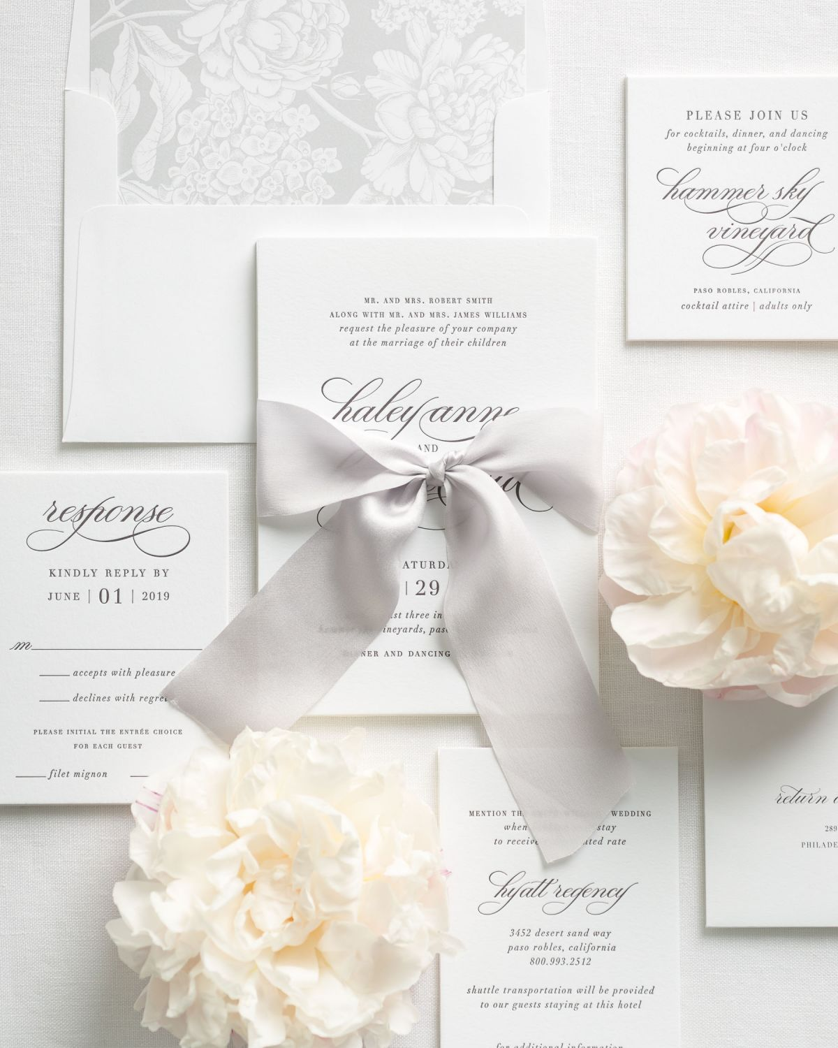 Light Gray Letterpress Wedding Invitations