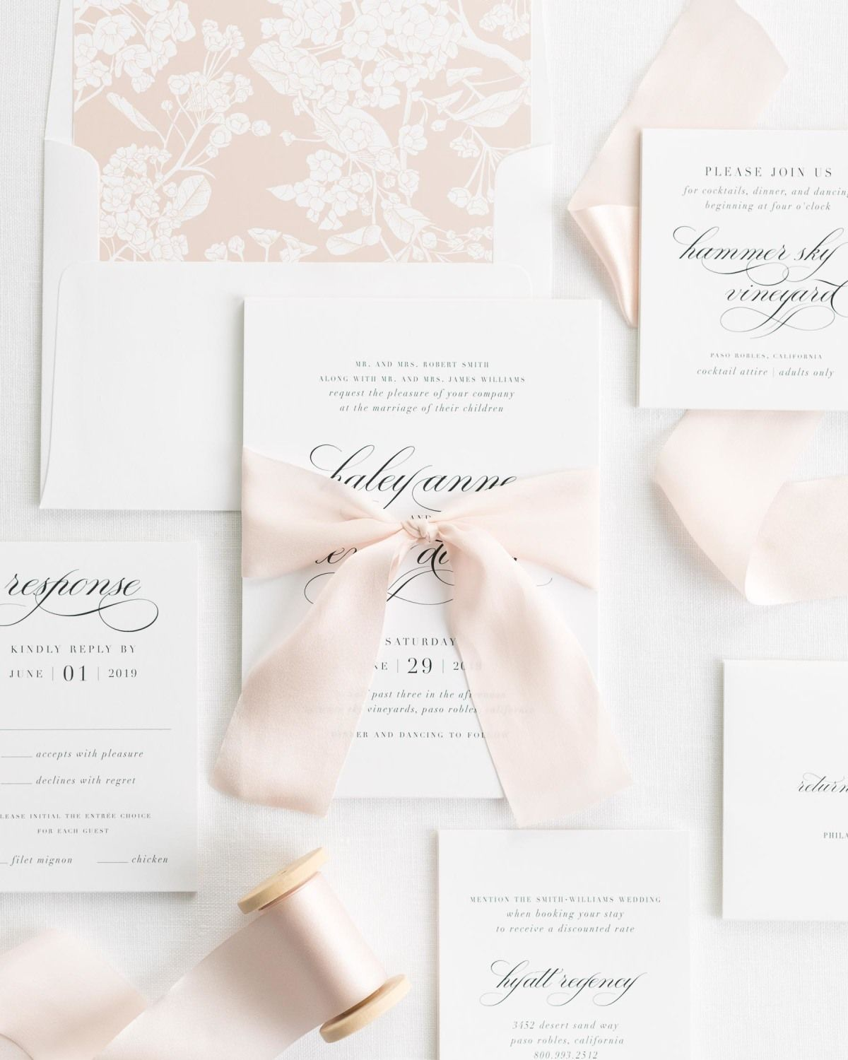 Complete Wedding Invitation Suite with Pale Pink Ribbon and Enclosures