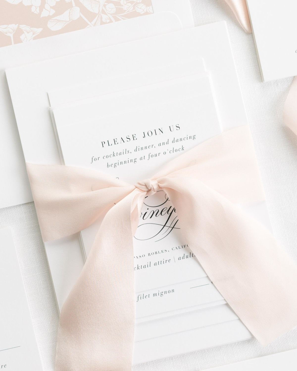 Gray Wedding Invitations with Pale Pink Silk Ribbon