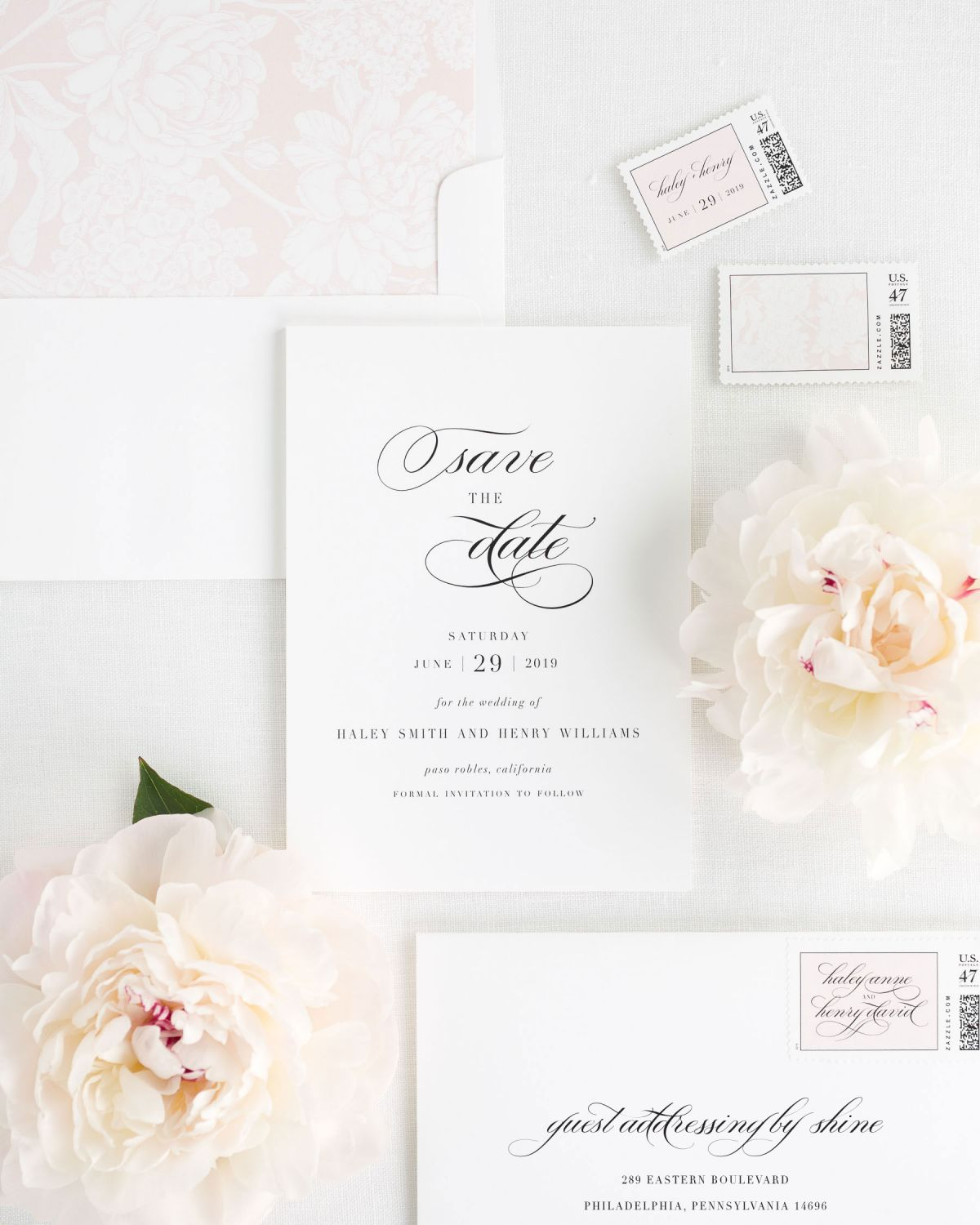 Save the Date with Peony Envelope Liner and Personalized Stamps