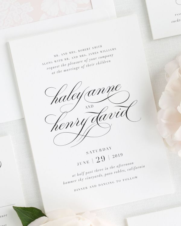 romantic wedding invitations with a peony pink envelope liner