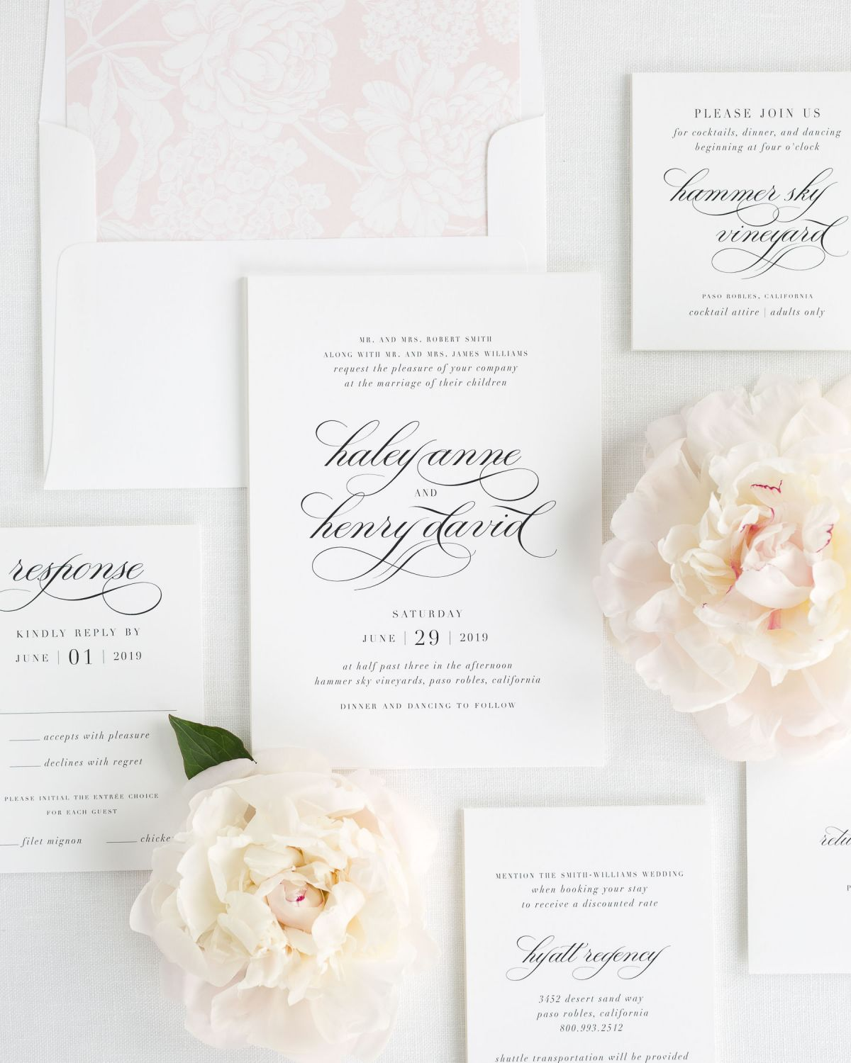 Wedding Invitation Package with Pink Envelope Liner and Flowing Script Font