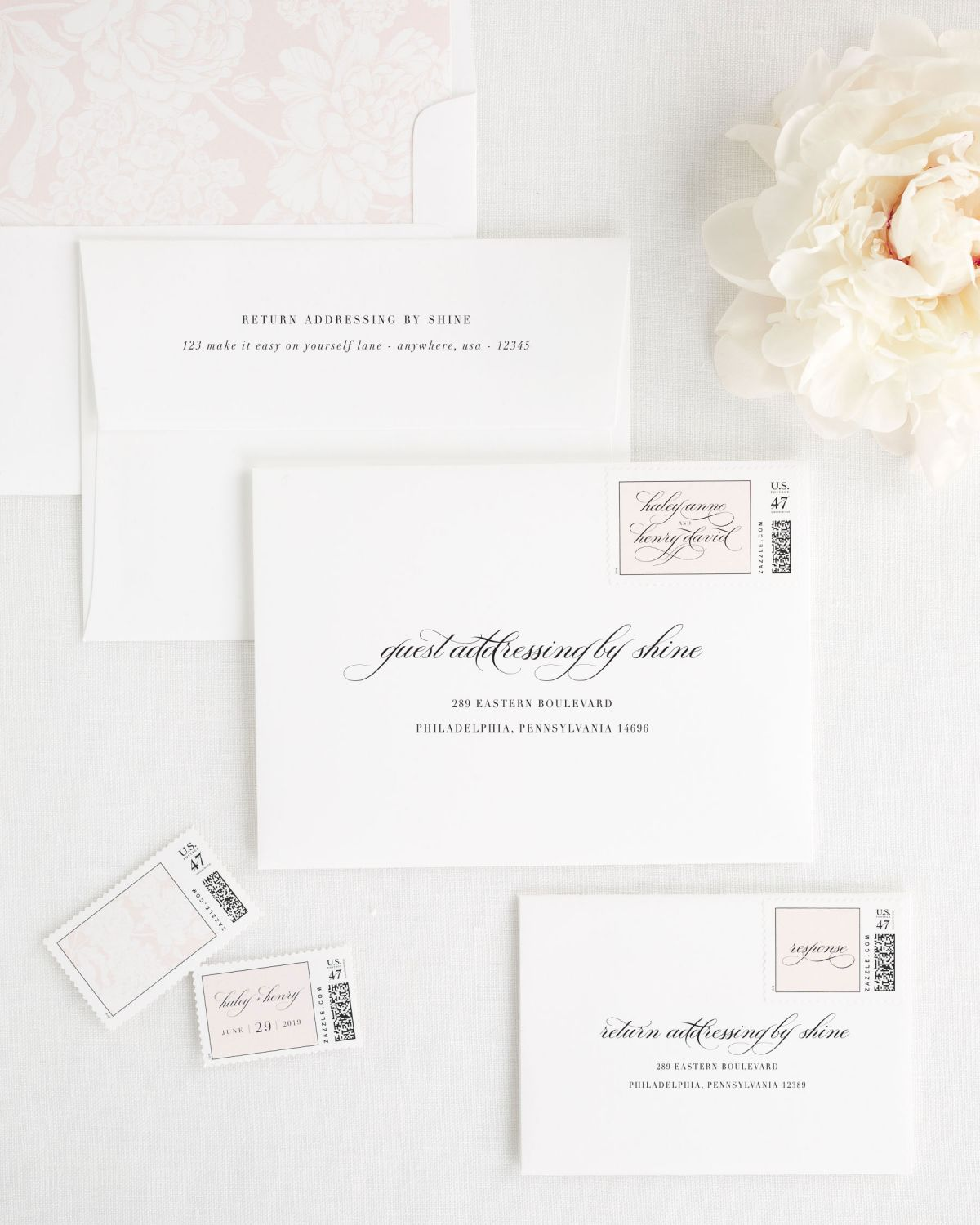 Invitation Envelopes with Address Printing, Custom Postage Stamps, and Light Pink Envelope Liner
