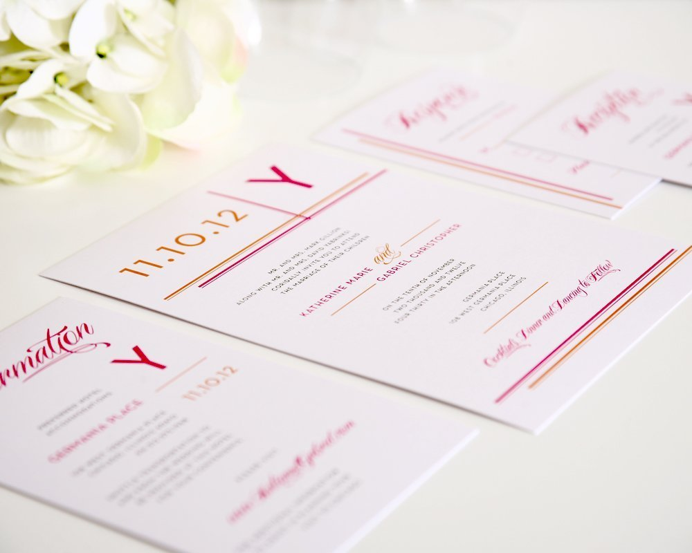 Wedding Invitation Suite with Stripes in Pink and Orange