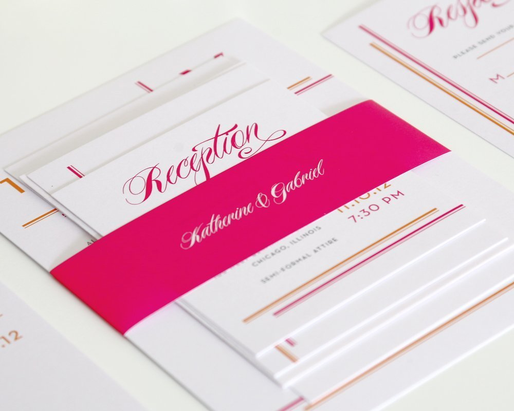 Pink Belly Band Wedding Invitations
