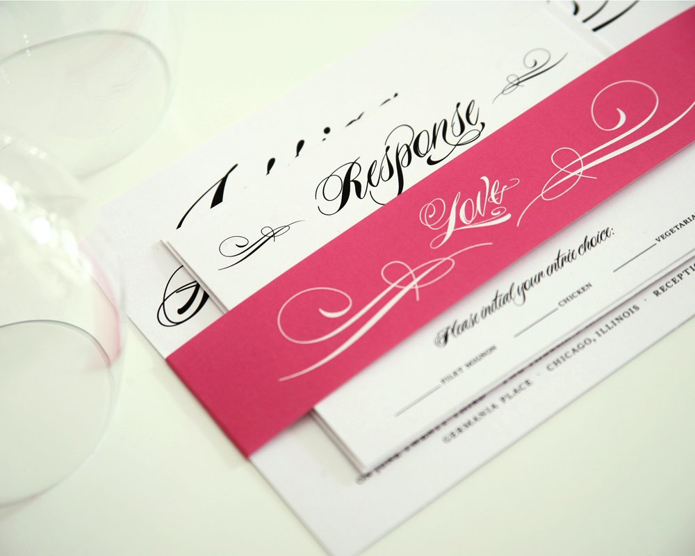 Script Invitation Assembled with Pink Belly Band