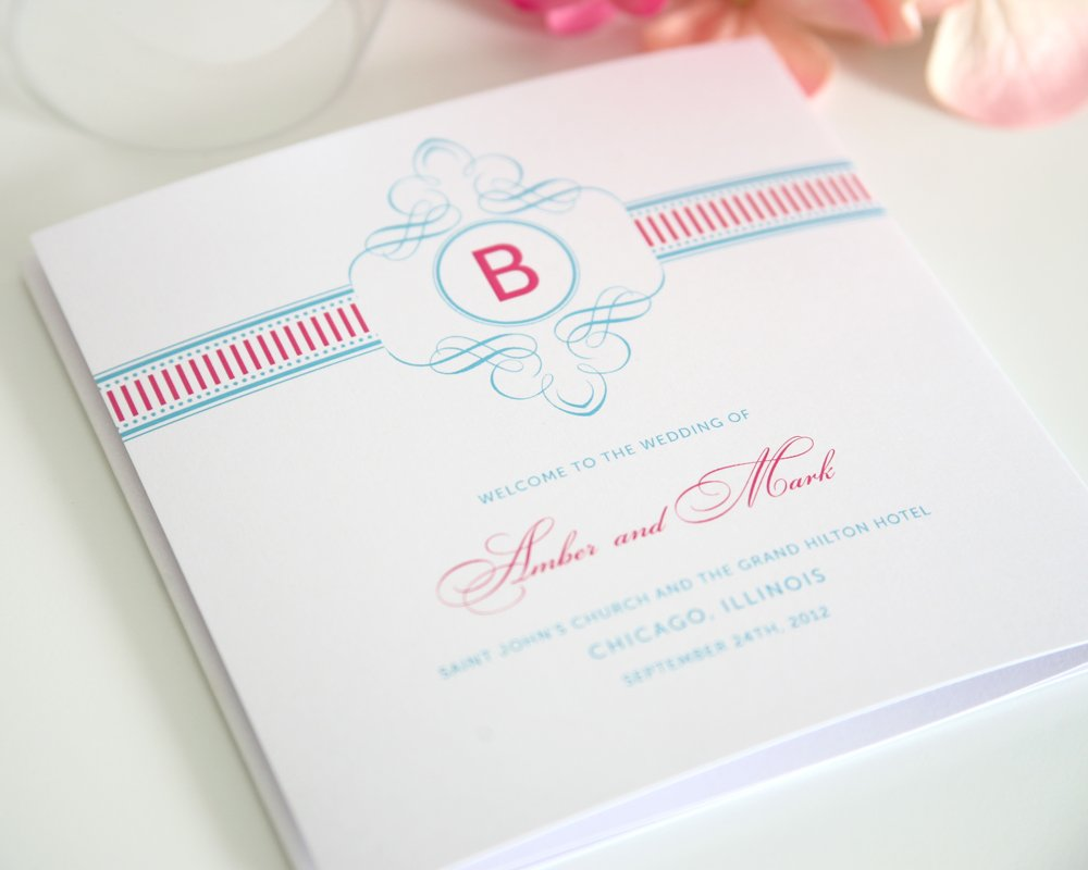 French Stripes Wedding Program in Pink and Blue