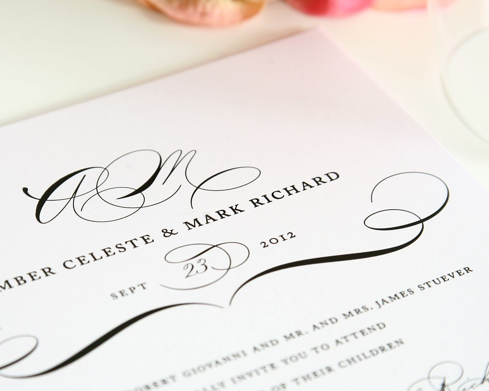 Vintage Wedding Invitation with Monogram