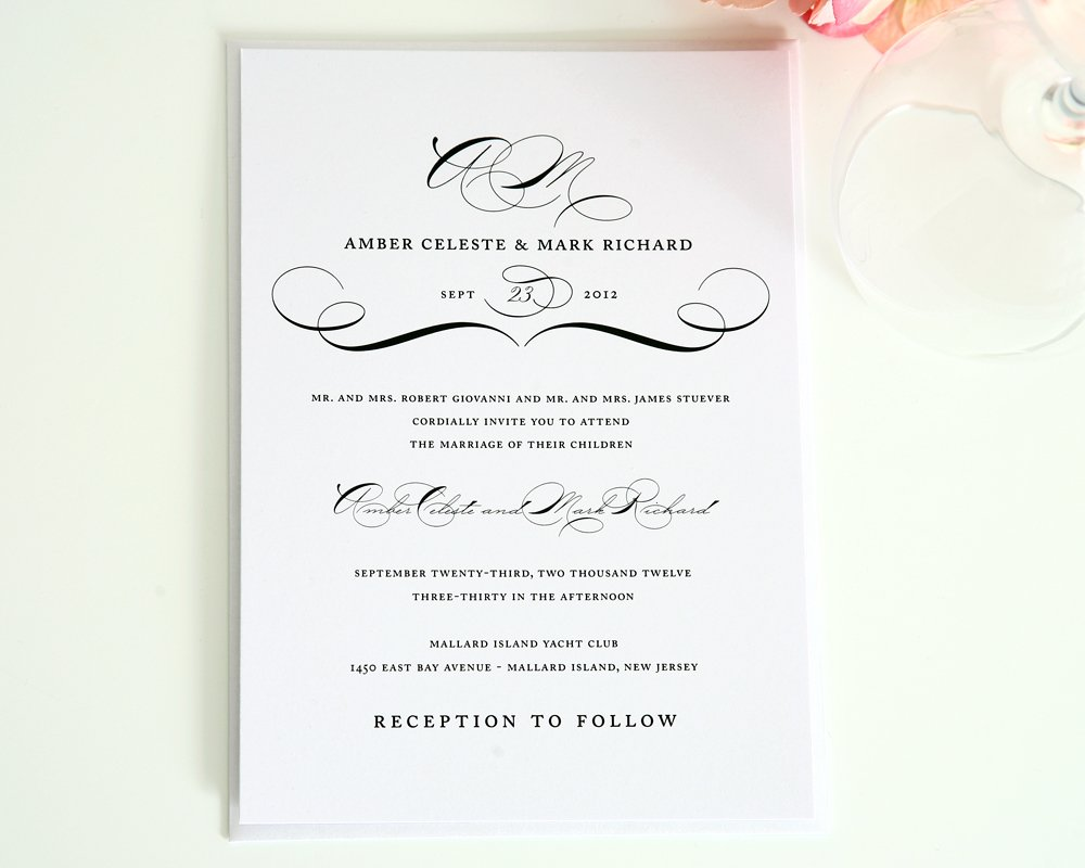 Vintage Wedding Invitation in Black and White