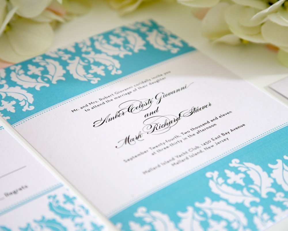 Damask Wedding Invitation in Tiffany Blue