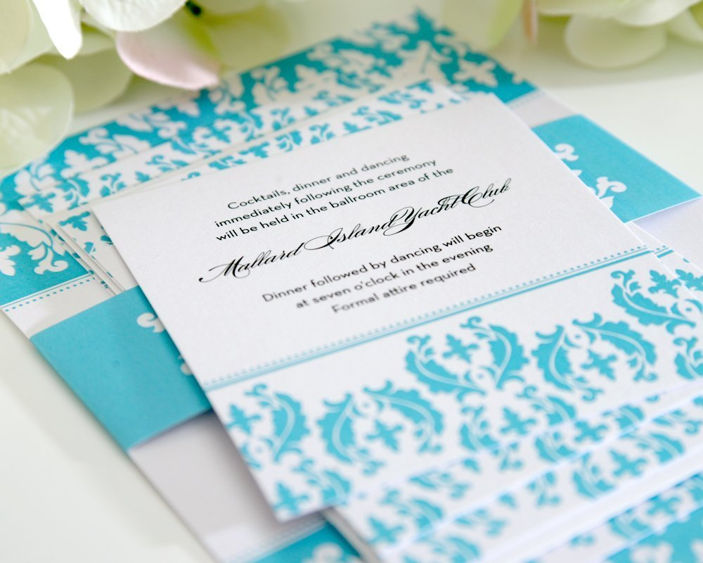 Detail of Tiffany Blue Wedding Stationery