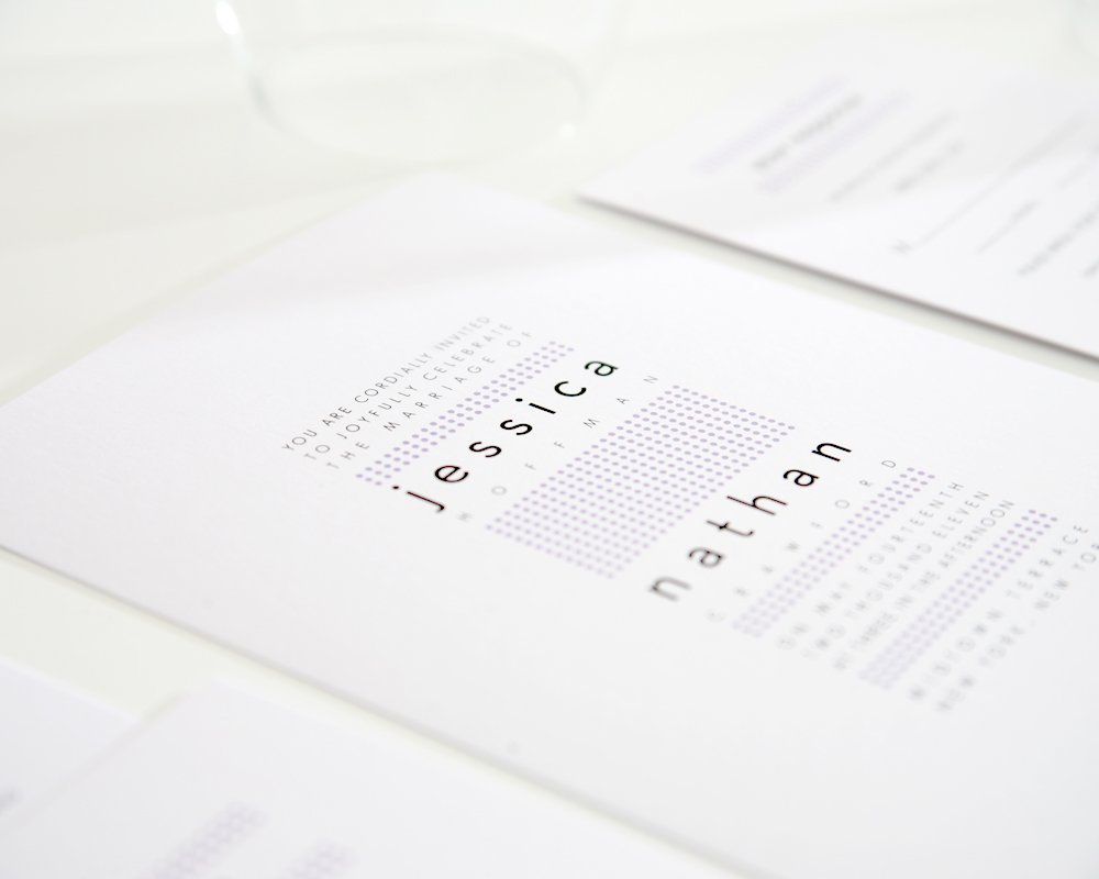Wedding Invitation with Dots, Modern Design