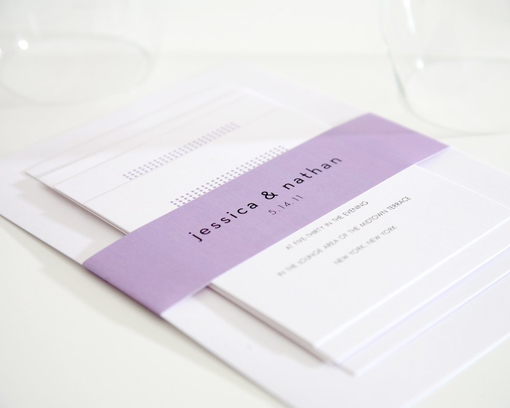 Purple Dots Wedding Invitations