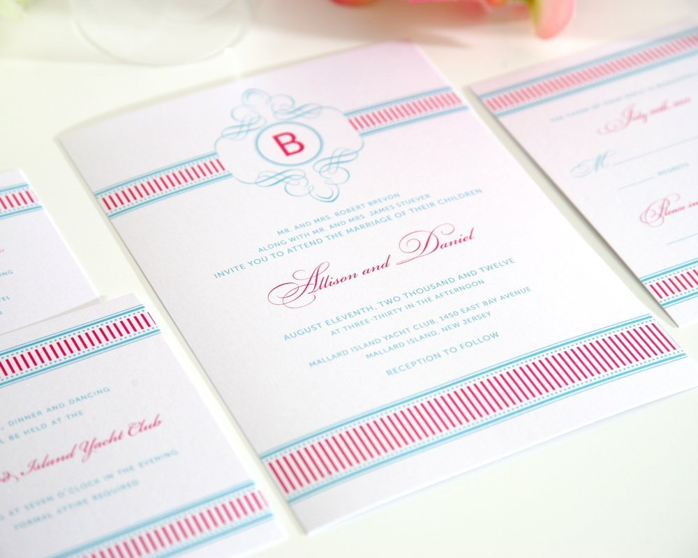 Fancy Stripes Wedding Invitations Suite