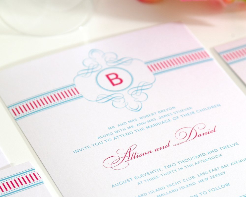 Fancy Stripes Wedding Invitations in Pink and Blue