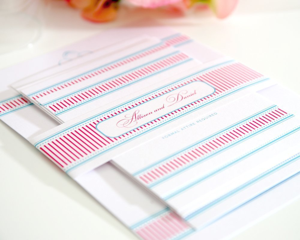 Fancy Stripes Wedding Invitations with Pink and Blue Belly Band