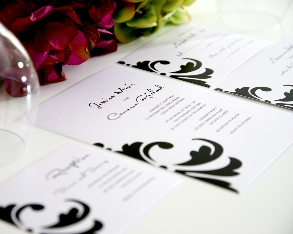 Damask Accent Wedding Invitations in Black and White