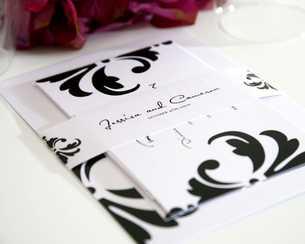 Damask Accent Wedding Invitation with Black and White Belly Band