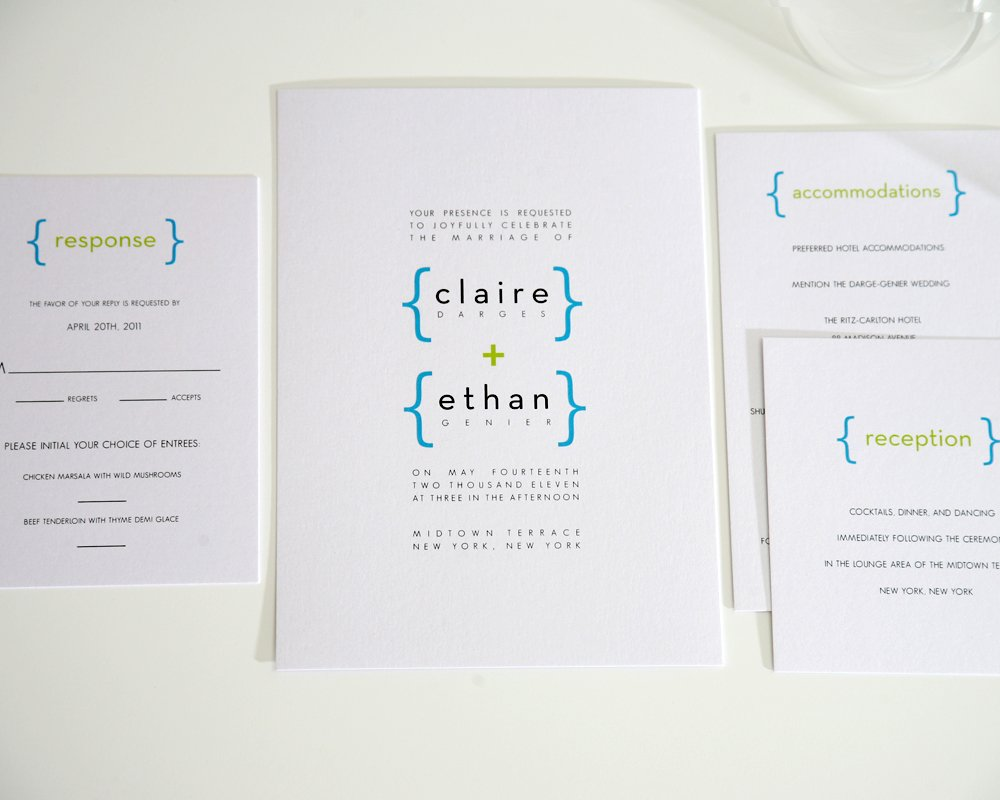 Modern Wedding Invitation Collection in Blue and Green