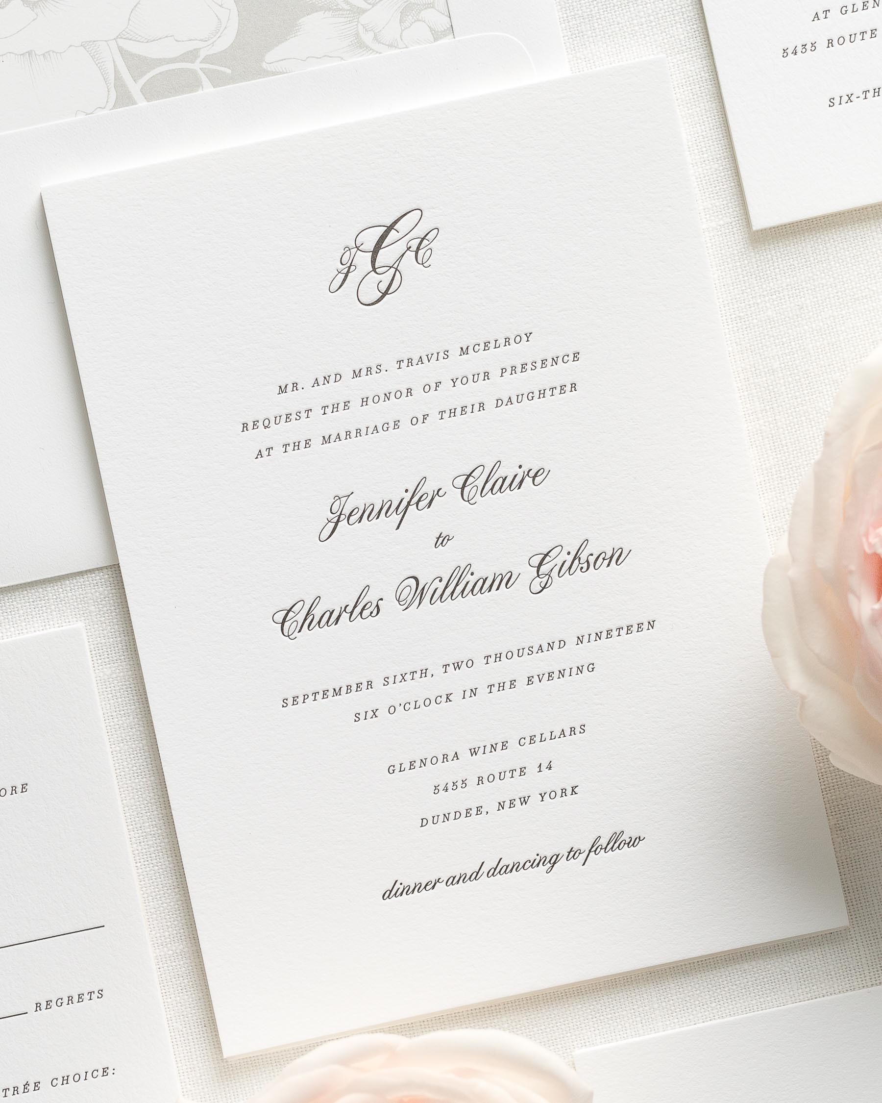 Jennifer Letterpress Wedding Invitations