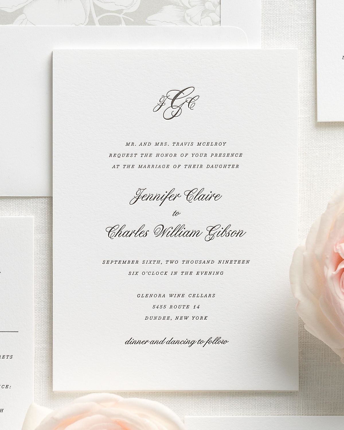 Stone Wedding Invitation Suite with Letterpress Printing
