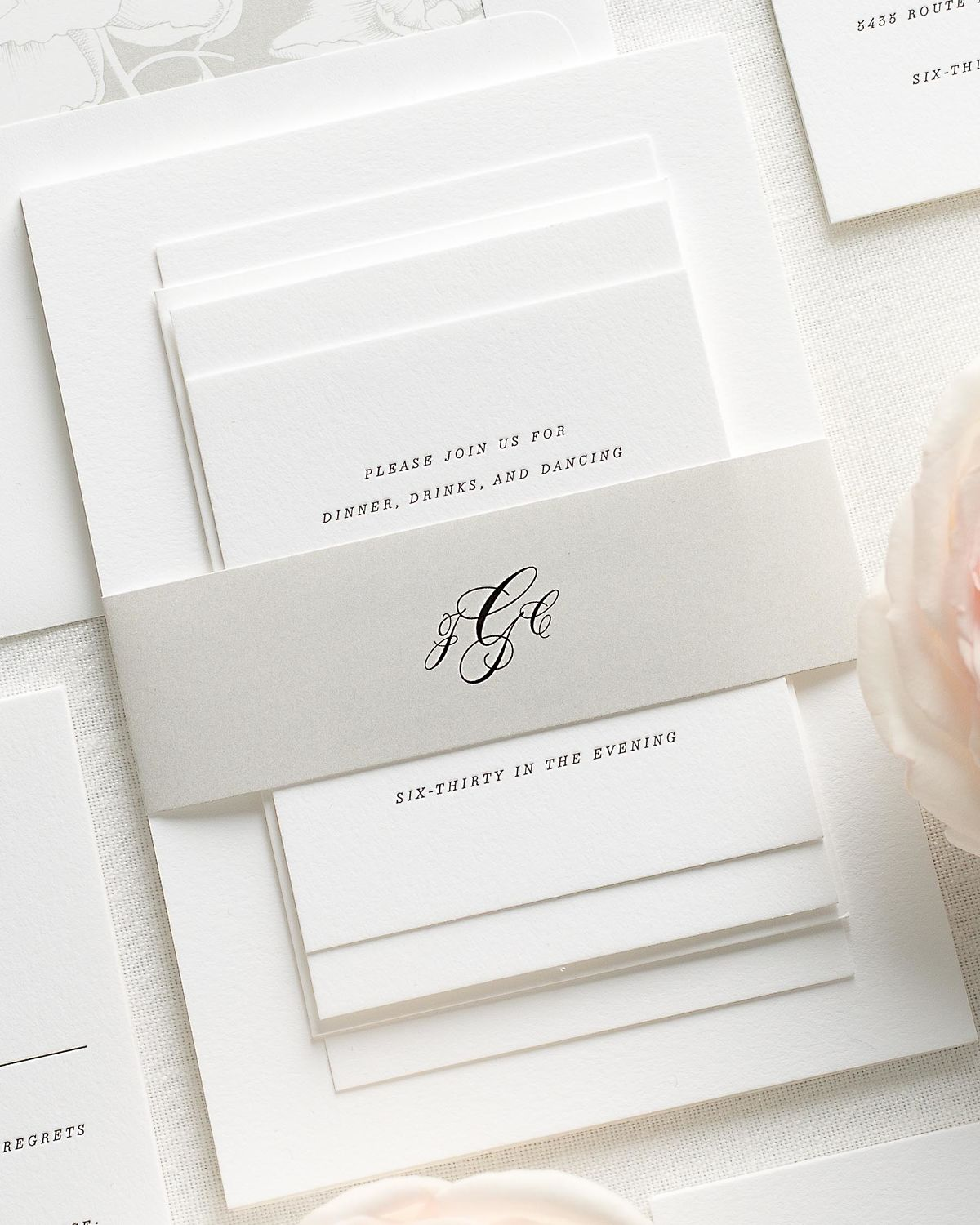 Wedding Invitations with Stone Belly Band and Letterpress Printing