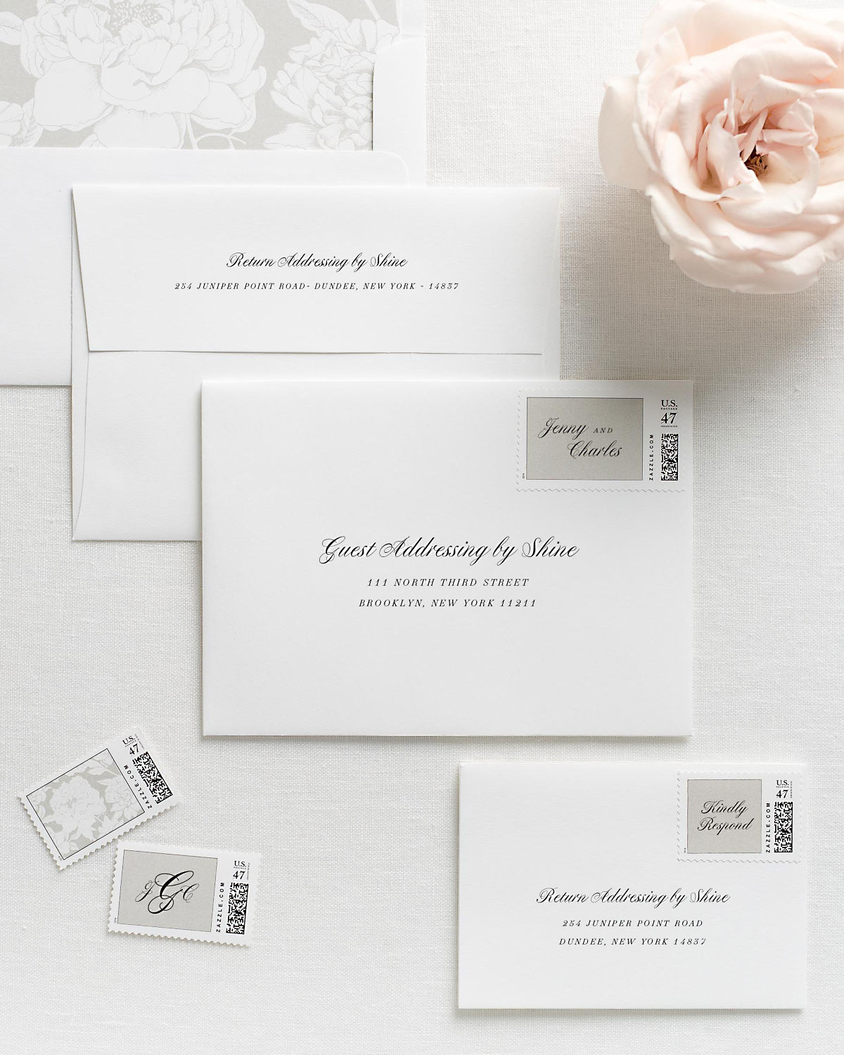 Wedding Invitation Envelopes with Pre-Printed Addresses and Matching Light Gray Custom Postage