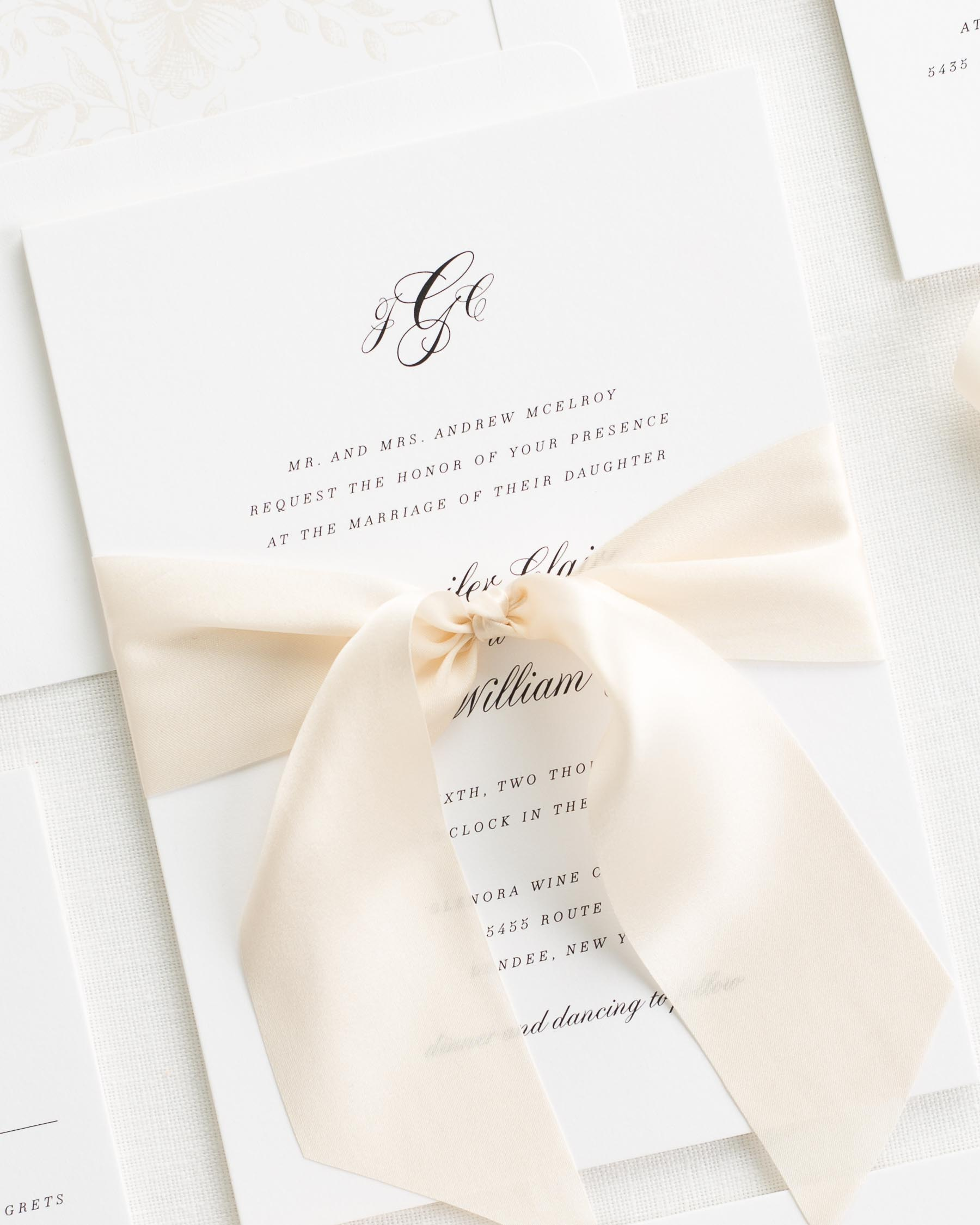 Jennifer Ribbon Wedding Invitations