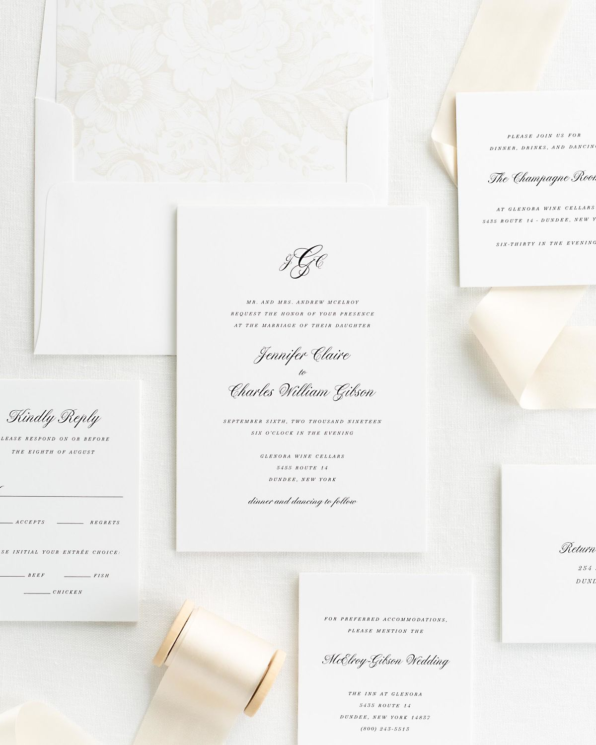 Wedding Invitation Suite with cashmere Silk Ribbon