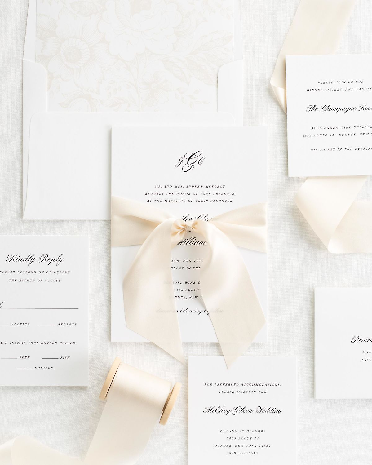 Cashmere Wedding Invitations with Silk Ribbon