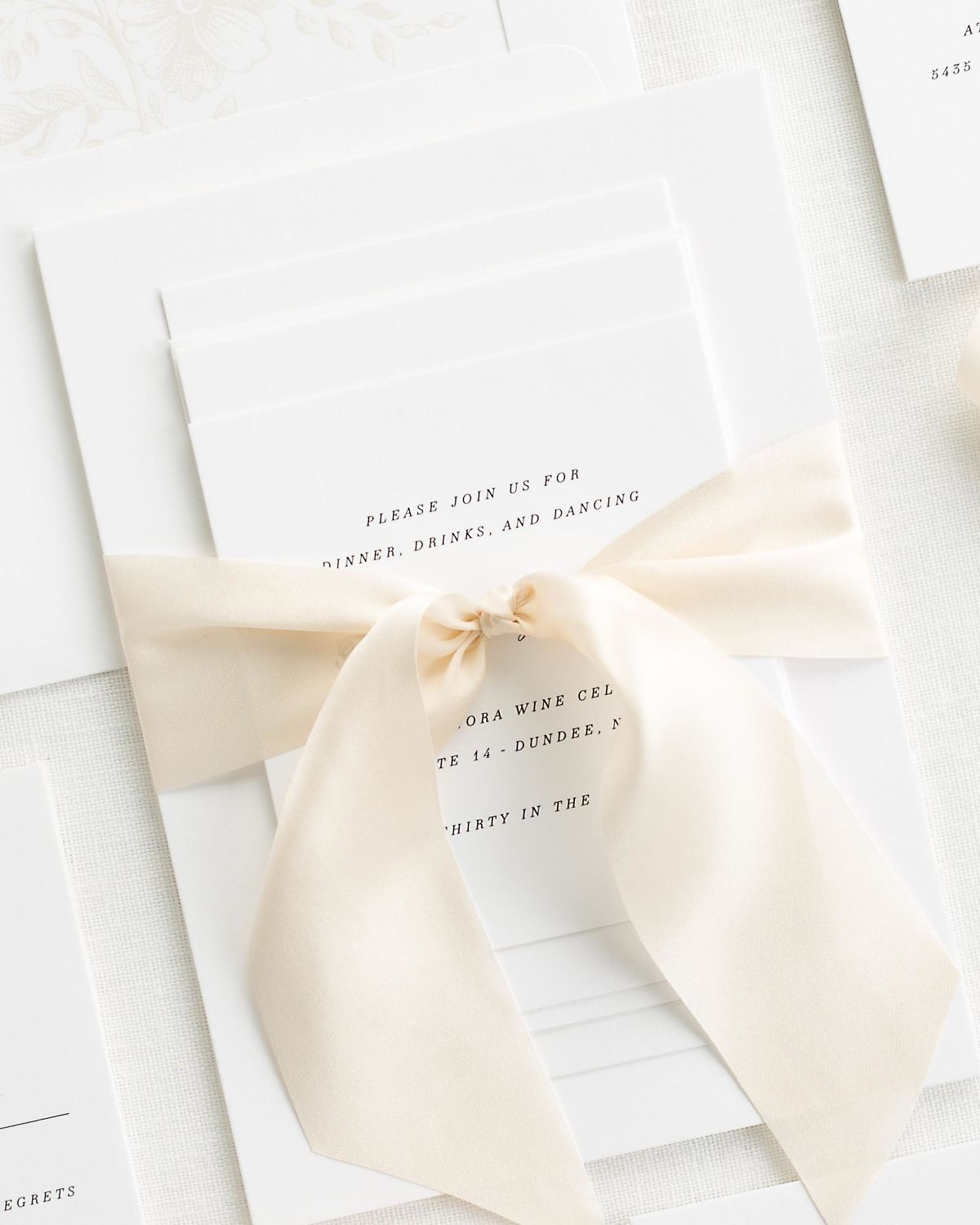Complete Wedding Stationery Set with Cashmere Ribbon and Enclosures