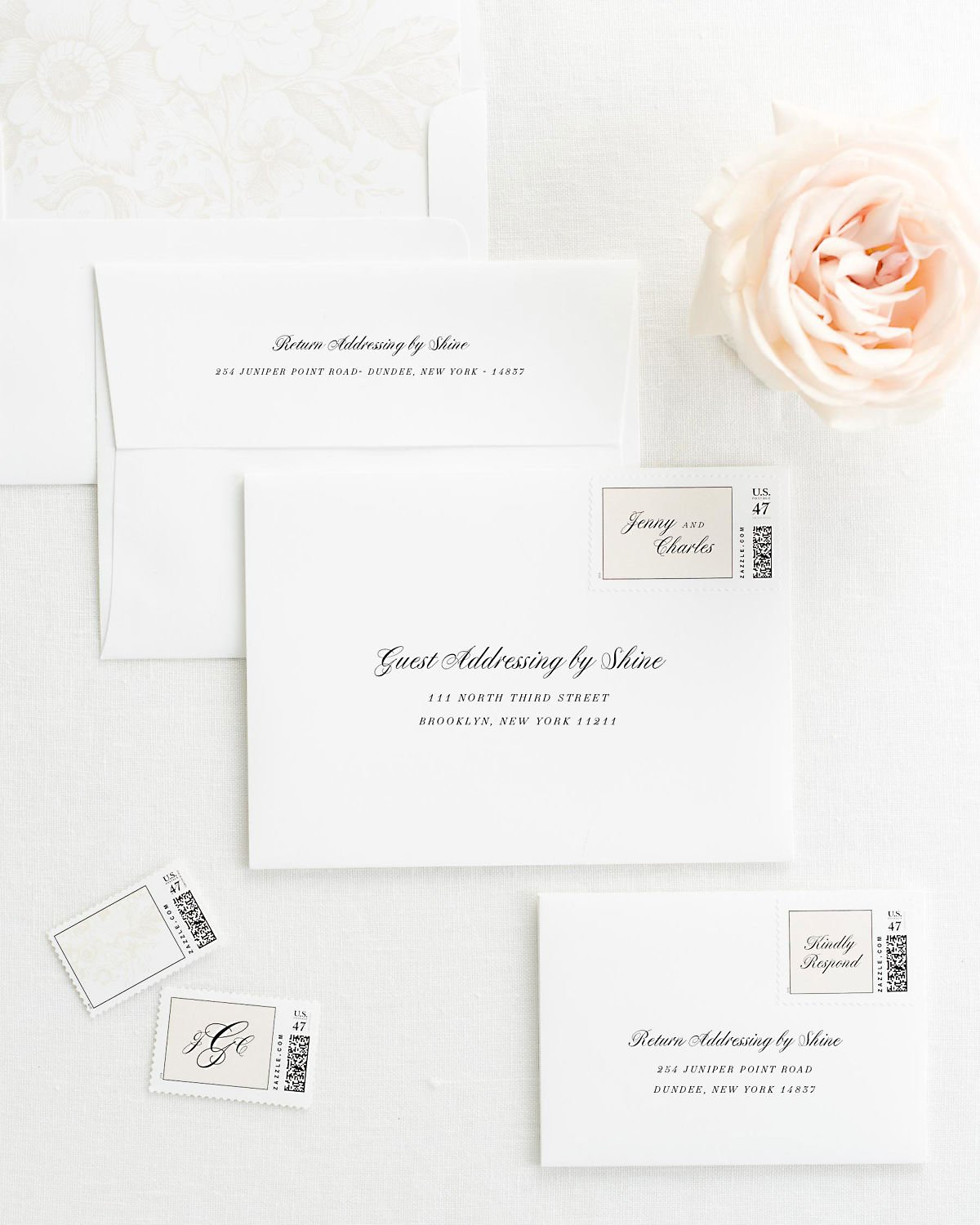 Wedding Invitation Envelopes with Pre-Printed Addresses and Matching Nude Custom Stamps