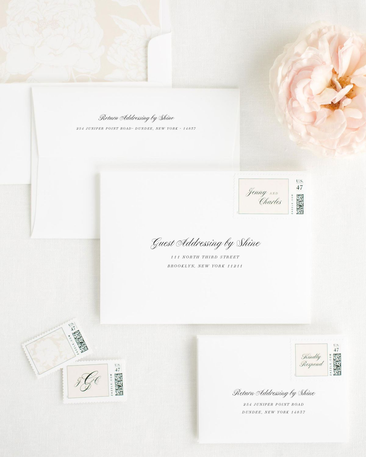 Wedding Invitation Envelopes with Nude Custom Stamps and Blooms Liner