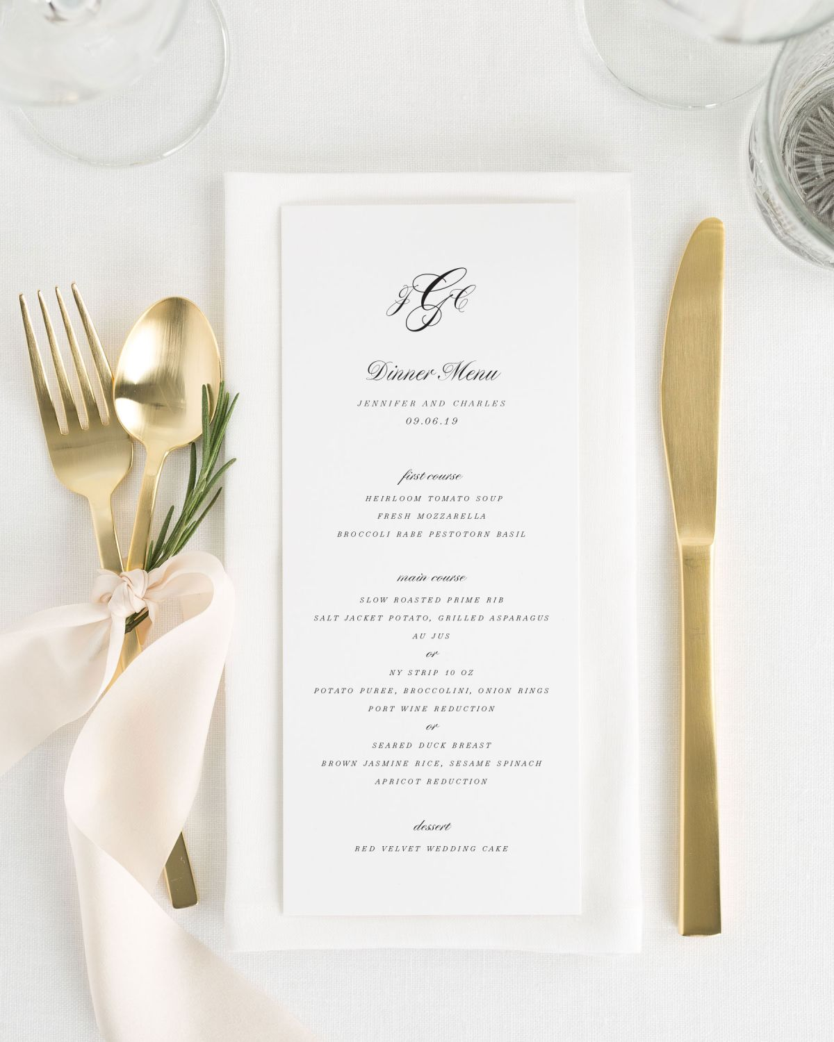 Monogram Dinner Menus