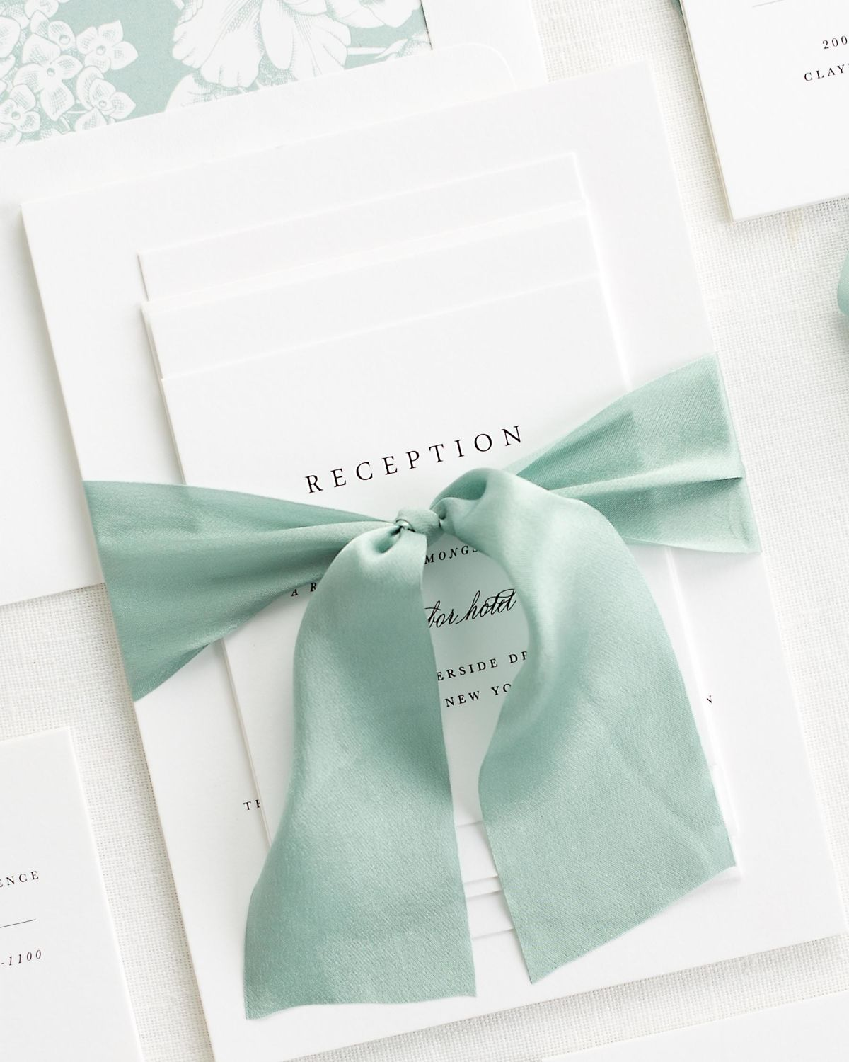 Complete Wedding Stationery Suite with Light Green Ribbon and Enclosures