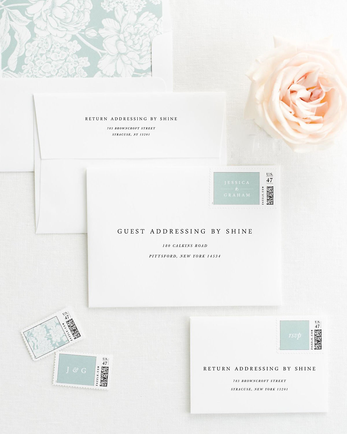 Wedding Invitation Envelopes with Pre-Printed Addresses and Matching Eucalyptus Custom Stamps
