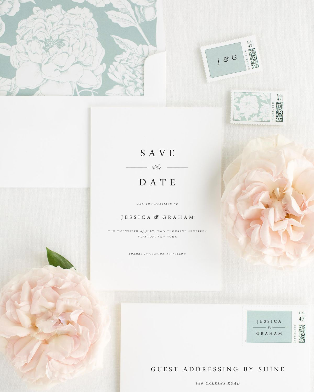 Save the Date with Eucalyptus Envelope Liner and Custom Stamps